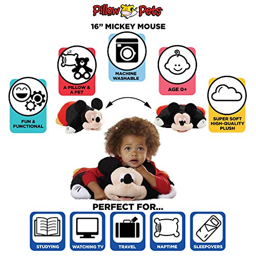 "Pillow Pets Disney, Mickey Mouse, 16"" Stuffed Animal Plush"
