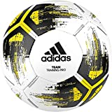 adidas Team TrainingPr Balón de Fútbol, Hombre, top:white/solar yellow/black/iron met. bottom:silver met, 5