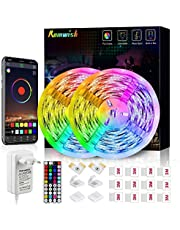 Tiras LED 10M, Romwish 5050 SMD RGB 300 LEDs con Control Remoto RF de 44 Botones & Control Bluetooth,para la Habitación, Dormitorio, fiestas, bares