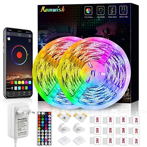 Striscia LED 10M, Romwish Luci Led Colorate RGB SMD 5050 Bluetooth Musica Sync LED Strip Controllo App e 44 Tasti Telecomando IR di Rete per Casa, Cucina, Festa, TV, Decorazione
