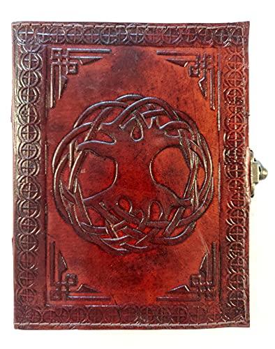 Kooly Zen – Cuaderno de diario, libro, álbumes, libro de invitados, cuaderno de dibujo, scrapbook, trepador, piel auténtica, árbol de la vida, 13 cm x 17 cm, 240 páginas, papel premium