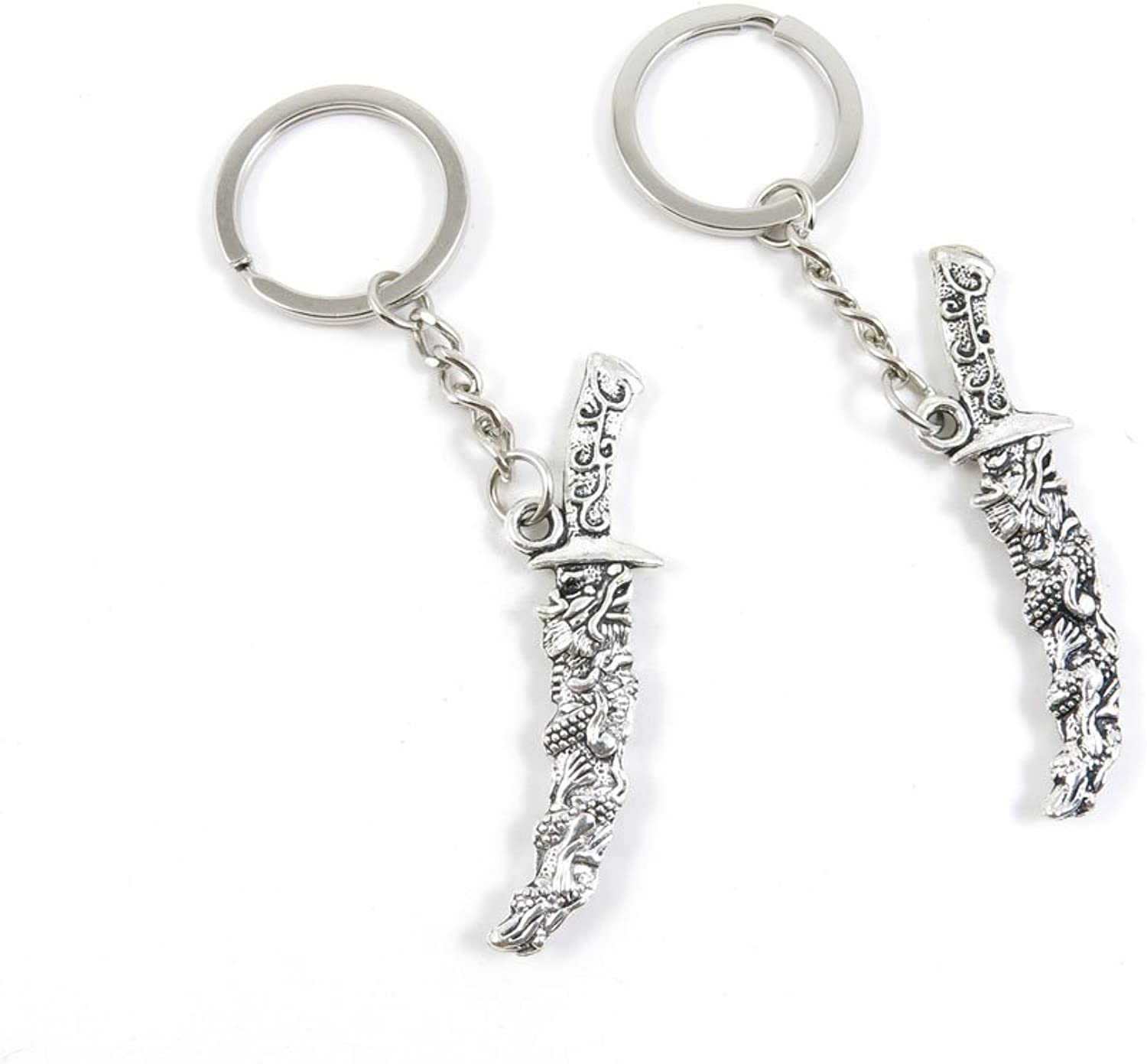 100 Pieces Keychain Keyring Door Car Key Chain Ring Tag Charms Bulk Supply Jewelry Making Clasp Findings E3PK5C Dragon Dagger