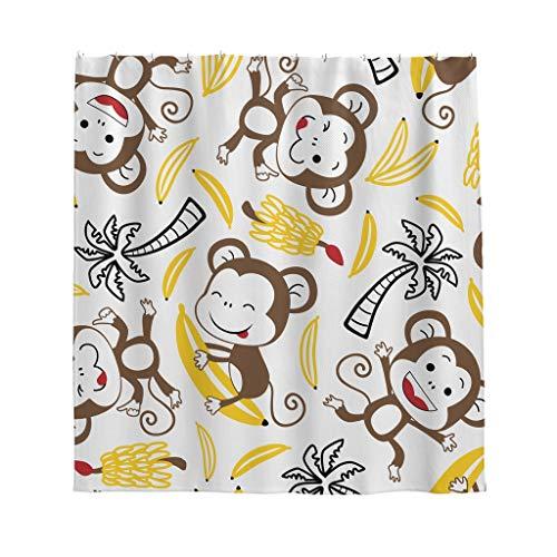 Affe Banane Baum Duschvorhang Anti-Schimmel Wasserdicht Polyester Schöner Vorhang mit Haken für Badezimmer Weiß 180x200cm
