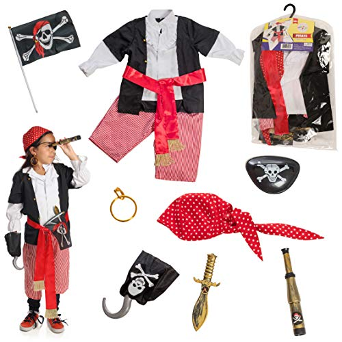 DRESS 2 PLAY Pirate Pretend Costume, 10 Piece Dress up Set with Accessories