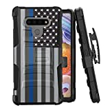 Moriko Case Compatible with LG Stylo 6 [Tough Men Style Shockproof Heavy Duty Full Body Kickstand Belt Clip Holster Black Case Cover] for LG Stylo 6 All Phone Carriers (USA Flag Blue Line)