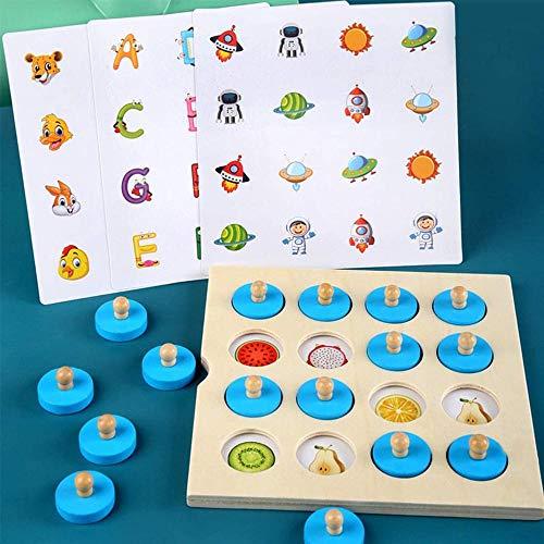Hinleise Juego de tablero de madera con memoria de ajedrez con 4 tarjetas de doble cara, juguetes educativos para niños y niñas de 3 años en adelante.