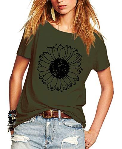 Romastory Womens Summer T Shirts Flower Print Short Sleeve Casual Crewneck Tops T-Shirts (ArmyGreen, XX-Large)