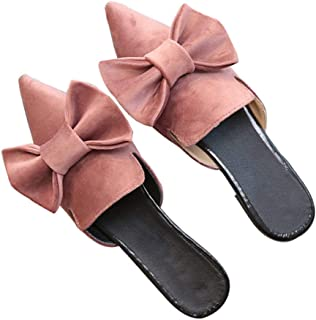 Luobote Mules Flat Mules Women Mules Loafer Mules Slip On Mules Bow Mules
