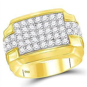 Diamond2Deal Herren-Ring aus 10 Karat Gelbgold, runder Diamant, rechteckig, 3 Karat