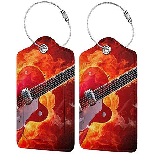 Guitarra Eléctrica Papel Pintado Personalizado Cuero De Lujo Maleta Etiqueta Set Accesorios...