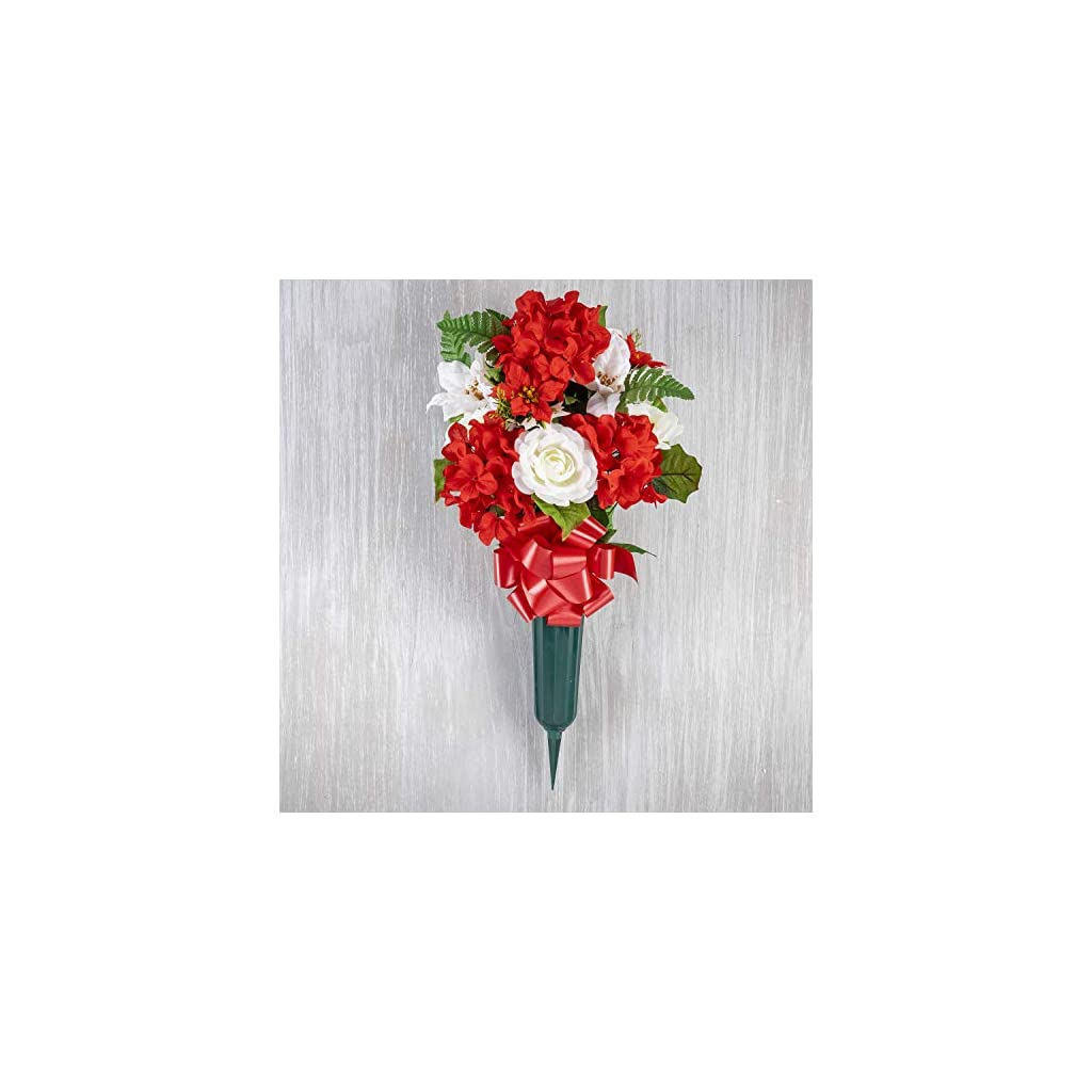 TenWaterloo 24 Inch High Memorial Red, White and Gold Christmas Artificial Floral Arrangement with Vase and Red Bow- Red, Gold, Green and White