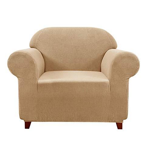 subrtex Spandex Sofabezug Stretch Sofahusse Couchbezug Sesselbezug Elastischer Antirutsch Stretchhusse für Sofa(1 Sitzer,Khaki)