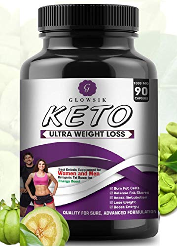 G-GLOWSIK Keto Capsules Ultra Weight Loss Fat Burner Supplement with (Green Tea + Garcinia Cambogia + Green Coffee) Extract 1000Mg (90 CAPSULES)