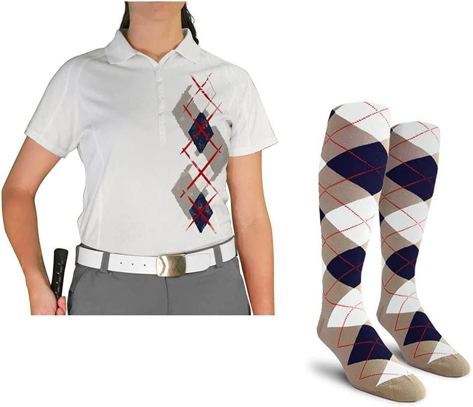 Ladies Argyle Paradise A surprise price is realized Golf Shirt with Taupe Navy Whi Socks - H: Challenge the lowest price