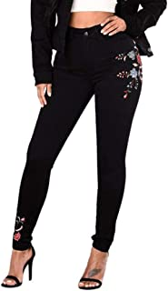 High Waist Floral Pencil Jeans for Women Trousers Ladies Embroidered Denim Pants
