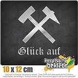 KIWISTAR Glück auf! - Bergbau - Kumpel 12 x 10 cm IN 15 FARBEN - Neon + Chrom! Sticker Aufkleber