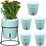 5-Pack Self Watering Pots with Metal Plant Stand 5.1' Self-Watering Planters for Indoor Plants Water Indicator Orchid Plant Pots Plastic Wick Flower Pots for African Violet, Mint Green