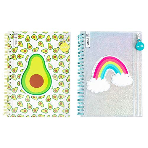 Yoobi College-Ruled Spiral Notebooks with Pencil Zipper Pouches | Fun Green Avacado Print | Cute Rainbow Glitter | 2-Pack | 60 Sheets, Multicolor