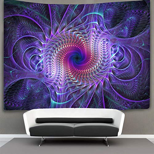 Purple Tie Dye Psychedelic Wall Tapestry Hippie Art Tapestry Wall Hanging Bedding Tapestry Large Tablecloths Trippy Bedspreads 50 x 60 inches Beach Coverlet Curtain for Bedroom Living Room Dorm Room