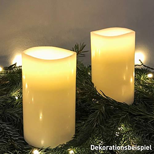 AMARE LED Echtwachskerzen 2er Set Weiß 7,5 x 12,5 cm (B x H) für Indoor, batteriebetrieben mit Flackerfunktion und 6h-Timer inkl. Batterien