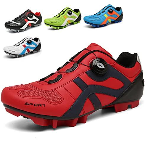 ASORT Calzado de Bicicleta de Montaña Calzado de MTB para Hombre Calzado de Ciclismo SPD Calzado para Montar en Interiores para Mujer con Tacos SPD,Red-46EU
