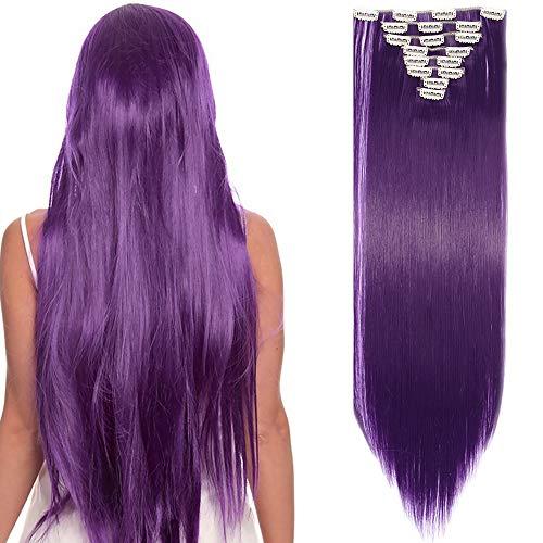 SEGO Rajout Cheveux Synthétique a Clip Extension pas Cher Raide - 66 cm Violet Bleu - [8 Piece 18 Clips] Clip in Hair