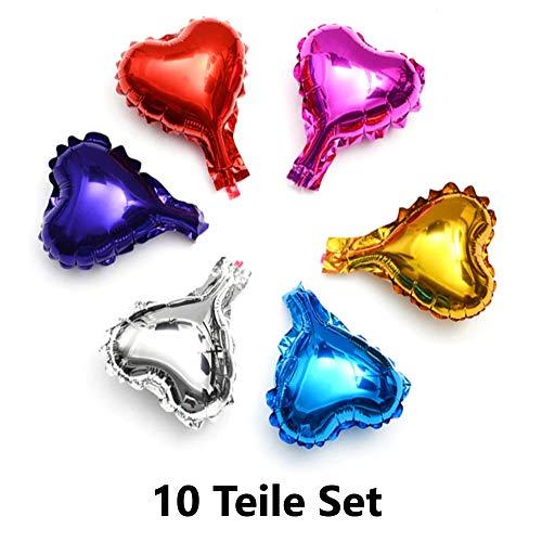 DIWULI, 10 Stück Bunte Mini DIY Herz-Ballons, Geschenke basteln und verschönern, Geschenk-Deko Luft-Ballons, Folien-Luftballons, kleine Herzform Folien-Ballons für Geburtstag, Hochzeit, Dekoration