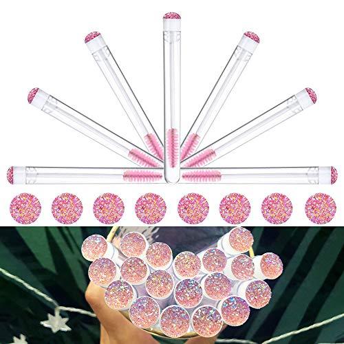 Dming 20pcs Eyelash brush Lash Wand Makeup tool Eyelash Extension supplies Cleaning brush Diamond Mascara star l pink