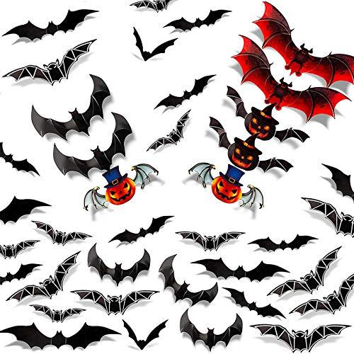 BETOY Halloween Chauve-Souris Stickers, 48 pièces 3D Chauves-Souris Autocollant PVC Scary Muraux Stickers DIY Fête d'halloween Fournitures pour fournitures de fête d'Halloween