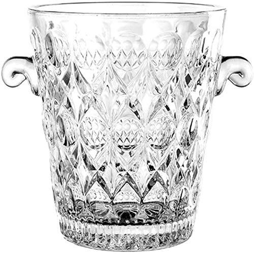 AWJ Cubo de Hielo de Vidrio para Vino, Cubo de champán de Cristal portátil Contenedor de Cubitos de Hielo Enfriador de Vino Transparente Enfriador Mango de Transporte Barware-Transparente