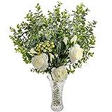 Fleurs Artificielles avec Vase - Blanc Soie Roses et Fausses Eucalyptus - Bouquet Artificiel avec Fausses Fleurs, Feuilles et Branchages avec Baies pour Mariage, Décorations, Arrangements Floraux