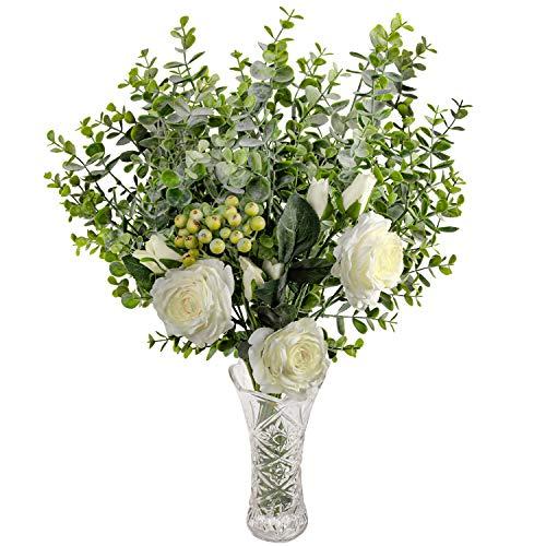 Rosas Artificiales y Eucalipto con Florero en Vaso - Blanco Flor Artificial Seda Rosa con Hojas de Eucalipto y Ramas de Bayas para Ramilletes de Boda, Centros de Mesa, Decoración Fiesta en Casa