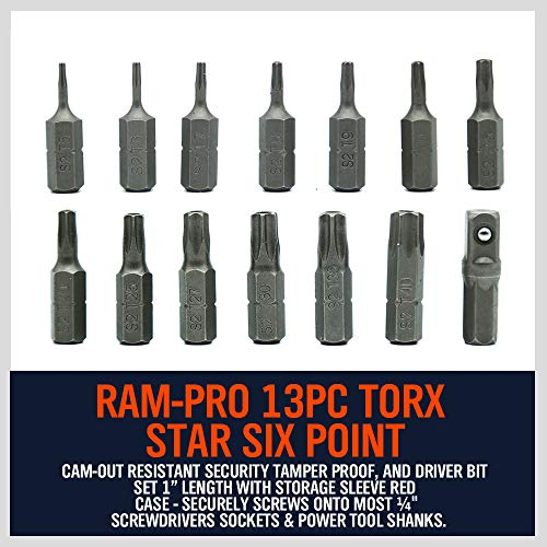 HORUSDY 14-Piece Tamper Resistant Star Bits, S2 Steel, T5 - T40 Security Torx Bit Set (14-Piece)