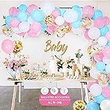 134 Kit Globo Guirnalda, Globos Blancos Rosados Azules,Globos de Confeti Dorados, Globos de Cumpleaños Decoraciones para Fiestas y Accesorios para Cumpleaños o Bodas, Baby Shower