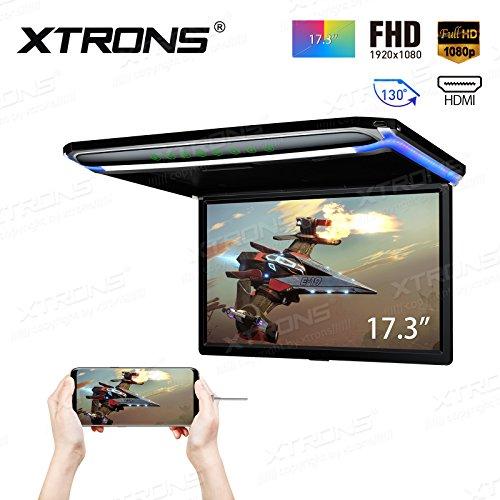 """XTRONS 17,3"""" Digital TFT FHD 16:9 Bildschirm für Auto Bus unterstützt 1080P Video Auto Overhead Player Auto Monitor mit HDMI Port Automosphäre LED Licht Windows CE für Urlaub (CM173HD)"""