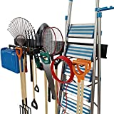 TORACK Garage Tool Organizer Wall Mount Rack Heavy Duty Tools Hanger with 8 Hooks 48inch Metal Tracks Max Load 800lbs
