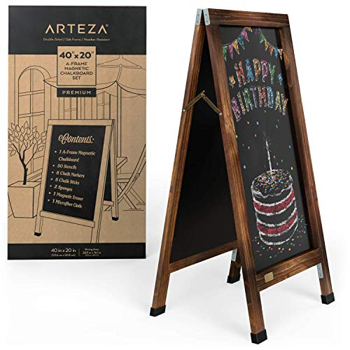 Arteza A-Frame Chalkboard Easel Set, 40x20 Inch Outdoor Chalkboard Sign with Chalk Sticks, Chalk Markers, Erasers, and Stencils, Standing Sign for Businesses, Announcements & Events