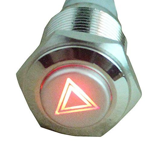 E Support peligro de emergencia 12V coche rojo LED indicador de advertencia símbolo de empuje interruptor de botón del metal de 16 mm