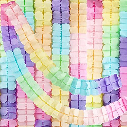 BETESSIN 6 STK Vierblättriges Kleeblatt Girlande Papier Pastellfarben Mehrfabig Banner Deko für Hochzeit Geburtstag Party Karneval Fasching Festfeier Geburtstagsgirlande Partygirlanden Dekoration