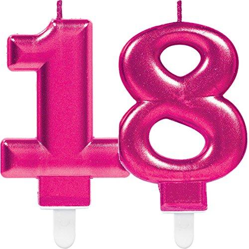 Amscan/Carpeta Lot de 2 bougies en forme de chiffre 18 - Rose - 11 x 9 cm - Décoration d'anniversaire