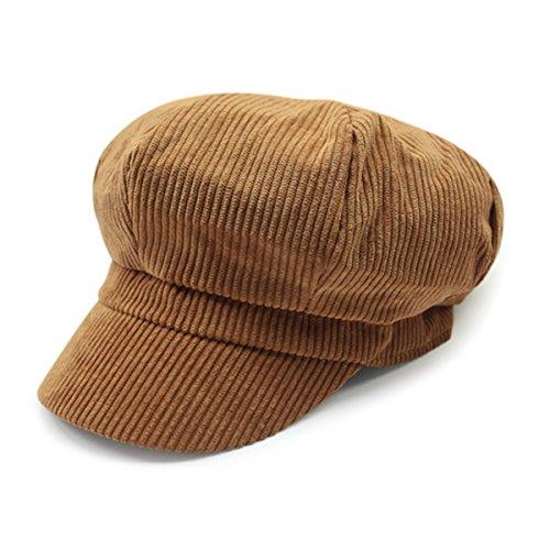 ZLS Women's Retro Peaked Ivy Newsboy Paperboy Gatsby Cabbie Painter Cap Hats (5-Tan)