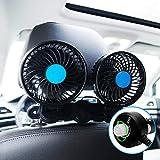 SILIVN 車内 車載扇風機 無段階風量調節可能 双頭車載ファン DC12/24V 4インチ ブラック シガー 角度調節 360°回転 強風量 省エネ 夏対応 小型