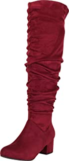 Cambridge Select Women's Ruched Chunky Block Mid Heel Knee-High Boot