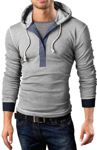 Grin&Bear Slim Fit Hoodie Kapuzenpullover 2 in 1 Sweat Shirt, Langarm, grau meliert, M, BH130