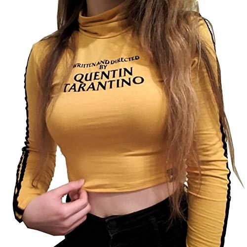 YUFAA Dolcevita a manica lunga da donna Casual Basic T-Shirt Crop Tops Juniors Camicie (Color : Giallo, Size : M)