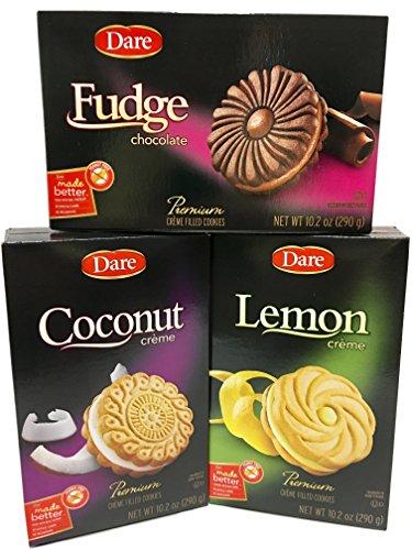 Dare Cookie Assortment - Fudge, Coconut and Lemon - Premium Crème Filled Cookies