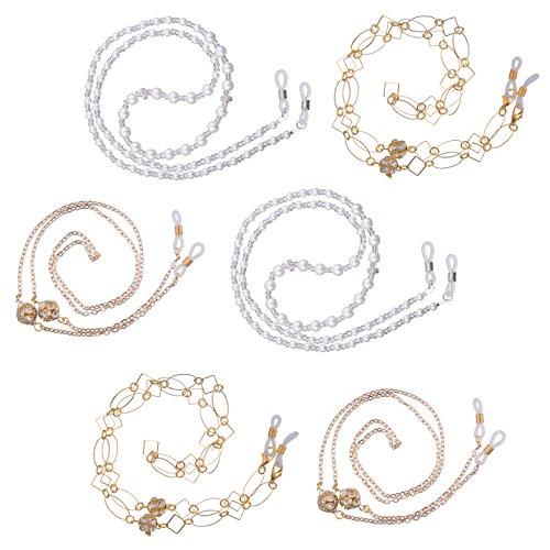 Stylle Eyeglass Chains 6 Piece, Elegant Holder Eyewear Retainer for Women, Glasses Keeper Cord Lanyard for Sunglasses and Reading Glasses