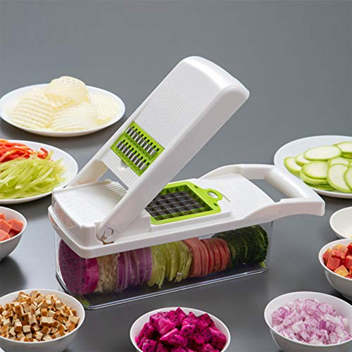 Onion Chopper,Vegetable Chopper Food Chopper with Large Container,12 in 1 Adjustable Mandolin Slicer, Multi-Blade for Food Salad Potato Veggie Fruit Chopper Cutter (White)