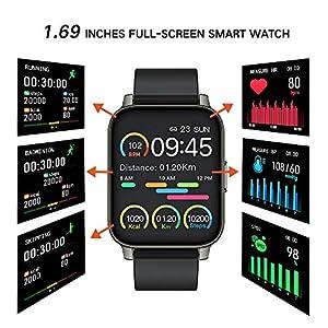 Smartwatch, 1.69Inch Reloj Inteligente, Pulsera Actividad con Fitness Tracker,Cronómetro, Calorías, Podómetro, Pulsómetro, Monitor de Sueño, IP67 Impermeable, Reloj de Fitness para Mujer Hombre Niño