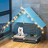 Parque interior para perros Perro Jaula for perros pequeños, los hogares cubierta con aseo, Valla separado for la perrera, la jaula del animal doméstico [en el plazo de 5 kg, 75 * 39 * 85cm] Con Bande